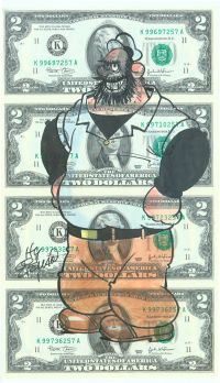 A Sheet Of Four Two Dollar Bills With A Large Colorful Cartoon Drawing Of Bluto Accomplished And Signed By Legendary Comic Hy Eisman