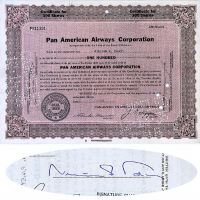 Pan American Airways Stock Issued To And Signed By CBS Founder William S. Paley