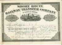 Short Route Railway Transfer Company - Signed By Collis P. Huntington As President