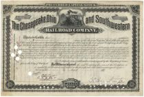 The Chesapeake, Ohio And Southwestern Railroad Company - Signed By Collis P Huntington As President