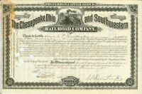 Chesapeake, Ohio And Southwestern RR Co. - Issued To And Signed By Collis P. Huntington As President And On Verso