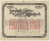Louisville And Southern Indiana Traction Co. - Signed By Samuel Insull As President