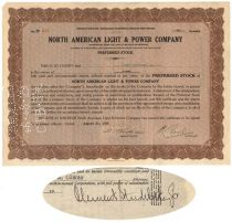North American Light And Power Company-signed By Clement Studebaker, Jr.