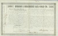Hudson & Berkshire Rail-road Company Bond Signed By Millard Fillmore
