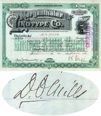 Mergenthalter Linotype Company Stock Issued To And Signed On Verso By Darius Ogden Mills