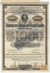 Kalamazoo, Allegan & Grand Rapids RR Co. Signed By Jeptha Wade