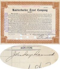 Knickerbocker Trust Company Receipt Issued To And Signed By John Hays Hammond