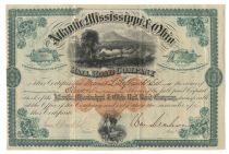 Atlantic, Mississippi & Ohio Railroad Stock Signed By Confederate General William Mahone