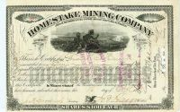 A Homestake Mining Company Certificate Signed By James B. Haggin As President