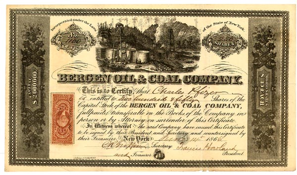 Bergen Oil & Coal Company Stock Certificate Issued To