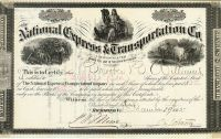 A Rare National Express & Transportation Company Stock Signed By Confederate General Joseph E. Johnston