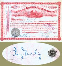 Saint Joseph & Western Railroad Issued To And Signed By Jay Gould