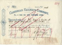 Cambrian Railways Company No. 4 Four Per Cent Preference Stock