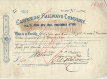 Cambrian Railways Company No. 3 Four Per Cent Preference Stock