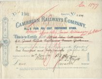 Cambrian Railways Company No. 2 Four Per Cent Preference Stock