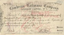Cambrian Railways Company Ordinary Capital No. 1 Stock