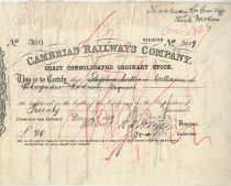 Cambrian Railways Company Coast Consolidated Ordinary Stock