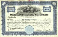American Exchange Irving Trust Company-Issued To F. W. Vanderbilt