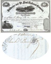 Stillwater And St. Paul Railroad Company-issued To Charles D. Barney & Co. And Signed By Barney