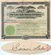 The Lake Submarine Company-Issued To And Signed As President And Verso By Simon Lake