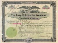 The Lake Submarine Company - Signed By Simon Lake As President