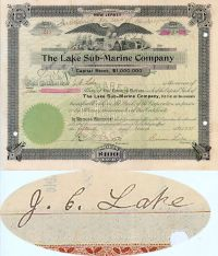The Lake Submarine Company-Issued To And Signed By J.C. Lake, Signed By Simon Lake As President