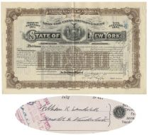 State Of New York General State Improvements Bond For $10,000 Issued To And Signed By William K. Vanderbilt And Harold S. Vanderbilt